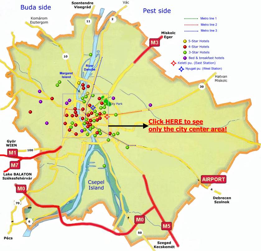 Location Of Budapest Hotels On The Map